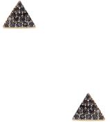 14K Gold & 0.12 Total Ct. Pave Black Diamond Triangle Stud Earrings