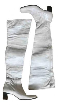Prada White Leather Boots