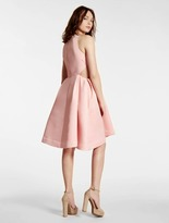 Halston Satin Faille Dress With Cut Outs