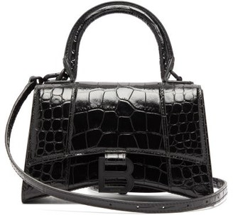 Balenciaga Hourglass Xs Crocodile-embossed Leather Bag - Black