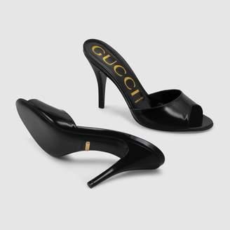 Gucci Leather heeled slide