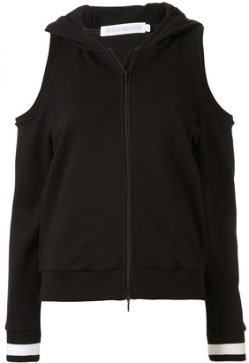 GOODIOUS Cold-Shoulder Zipped Front Hoodie