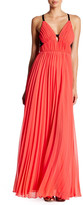 ABS by Allen Schwartz Lace Back Sheer Pleated Gown
