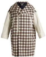 Junya Watanabe Leather-trimmed hound's-tooth wool-blend coat