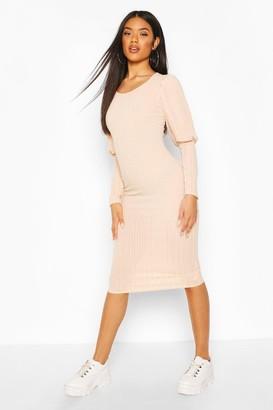 boohoo Rib Mini Dress With Deep Cuffs