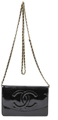 Chanel Black Patent Leather Cc Timeless Single Flap Wallet On Chain