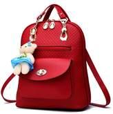 Hynbase Women Fashion Retro Korean Leather Backpack Cute Schoolbag Shoulder Bag