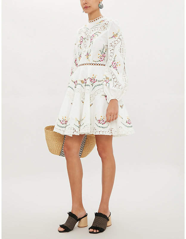Zimmermann Allia floral and lace insert linen and cotton-blend dress