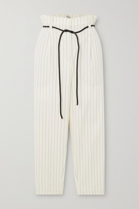 Brunello Cucinelli Cropped Belted Pinstriped Cotton-blend Straight-leg Pants - White