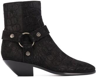 Saint Laurent Buckle-Detail Crocodile-Effect Boots