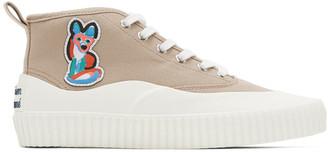 MAISON KITSUNÉ Beige ACIDE Fox Patch High-Top Sneakers