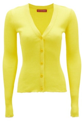 Altuzarra Hartwell V-neck Rib-knitted Silk-blend Cardigan - Womens - Yellow
