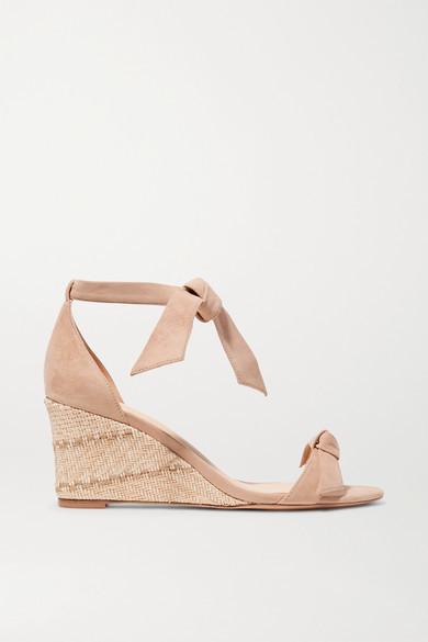 Alexandre Birman Clarita Bow-embellished Suede Espadrille Wedge Sandals - Beige