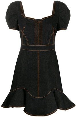 Alexander McQueen Contrast-Stitching Denim Dress