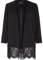 River Island Womens Black lace hem duster jacket