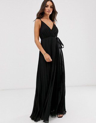 Asos Design DESIGN cami pleated maxi dress with grosgrain tie waist-Black