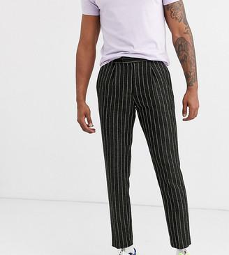 ASOS DESIGN Tall slim crop smart trousers in wool mix stripe in green