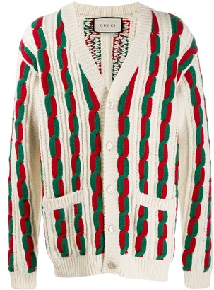 Gucci Web stripe cable knit cardigan