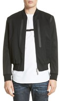 DSQUARED2 Men's Seam Sealed Mixed Media Bomber Jacket