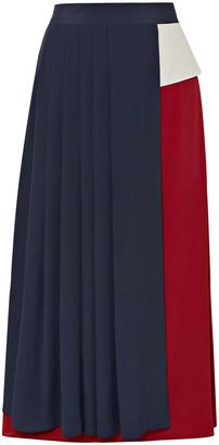 Rokh Asymmetric Pleated Color-block Crepe De Chine Skirt