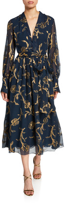 Oscar de la Renta Metallic-Embroidered Chiffon Tea Length Dress
