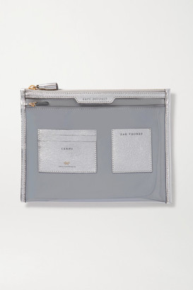 Anya Hindmarch Safe Deposit Metallic Leather-trimmed Pvc Pouch - Silver