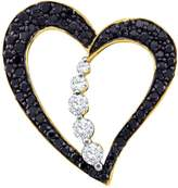 JawaFashion 10kt Yellow Gold Womens Round Colored Diamond Heart Journey Pendant 1/2 Cttw