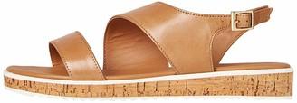 Find. Assymetric Cork Sole Leather Flatform Sandals Beige Tan) 4 UK