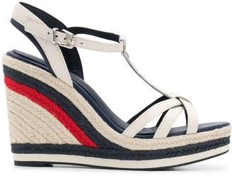Tommy Hilfiger Striped Woven Wedge Heel Sandals