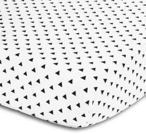 The Peanut Shell The Black & White Triangle Print Fitted Crib Sheet Bedding