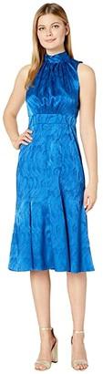 Donna Morgan Sleeveless Jacquard Tie-Halter Midi Dress (Cobalt Multi) Women's Dress