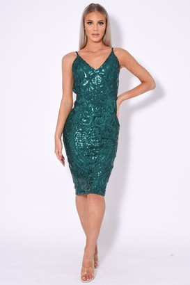 Nazz Collection High Shine Luxe Embellished Sequin Backless Midi Dress
