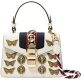 Gucci Sylvie Mini Embellished Chain-trimmed Leather And Canvas Shoulder Bag - White