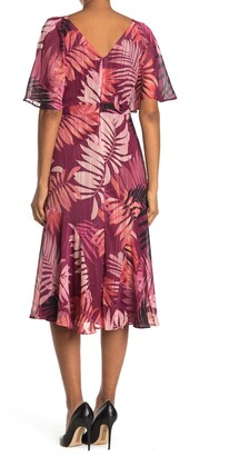 Maggy London Tropical Print Flutter Sleeve Tea Length Dress