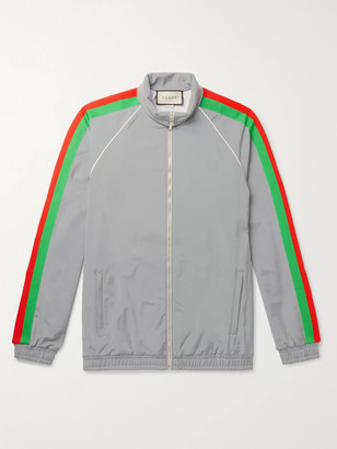 Gucci Webbing-Trimmed Iridescent Stretch-Jersey Track Jacket - Men - Silver