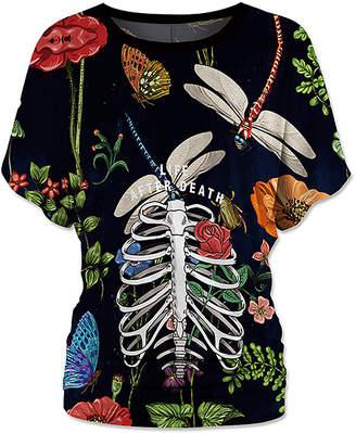 Udear UDEAR Women's Blouses Print - Black Floral Skeleton Ruched Dolman Top - Women & Plus