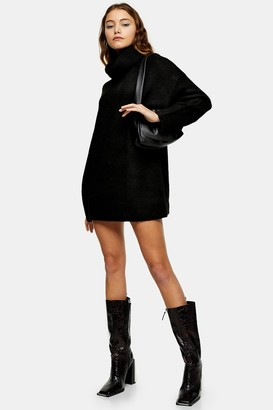 Topshop Black Oversized Roll Neck Knitted Sweater Dress