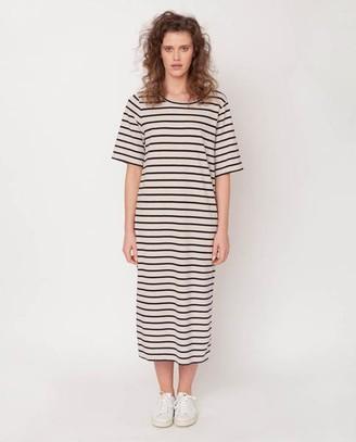 Beaumont Organic Ellie Sue Organic Cotton Dress In Bone Marl Black - Bone Marl & Black / Small