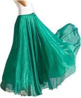 Emoyi Women Floral Print Vintage Soft Chiffon Maxi Boho Long Skirt Beach Dress (M, )