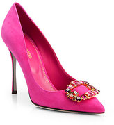 Sergio Rossi Jeweled Suede Pumps