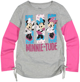 Jerry Leigh Heather Gray Minnie Mouse 'Minnie-Tude' Side-Cinch Tee - Girls