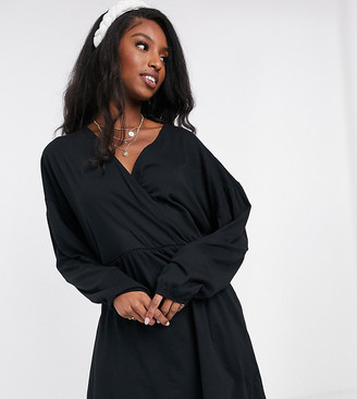 Asos Tall ASOS DESIGN Tall wrap front long sleeve smock dress in black