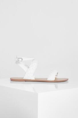 boohoo Wide Fit Double Plait Sandal