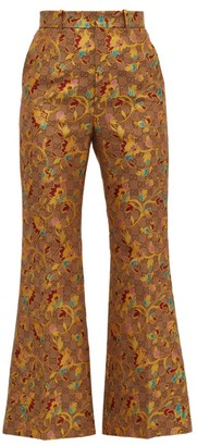 Gucci Flared Floral Gg-jacquard Trousers - Beige