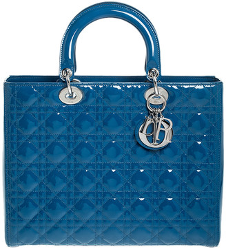 Christian Dior Blue Patent Leather Large Lady Tote