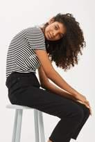 Petite black raw hem cropped jeans