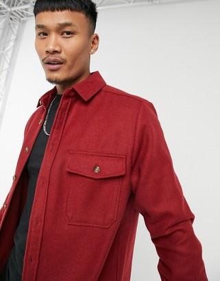 ASOS DESIGN wool-blend overshirt in red