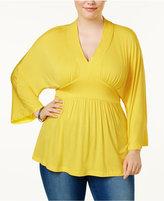Melissa McCarthy Trendy Plus Size Kimono-Sleeve Peplum Top