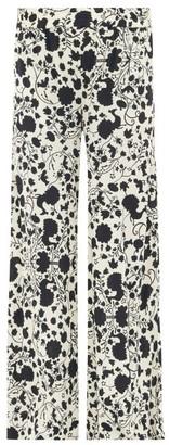 La DoubleJ Palazzo Floral-print Crepe Trousers - Black White