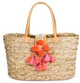 Merona Women's Medium Straw Tote Handbag with Hot Pink Poms